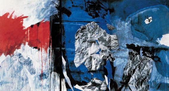 Antoni Clavé. Drôles de guerriers - 1983, huile et collage sur toile, 195 x 360 cm © Antoni Clavé