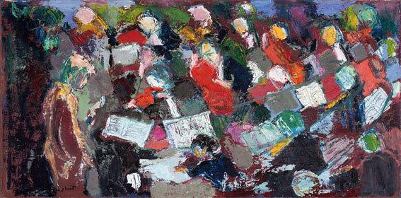 Yvon Tardy, Les musiciens. Huile sur toile 40x80-cm. 2002