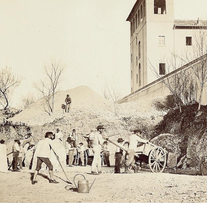 Pietro Dovizielli, Palais des Césars, équipe de fouilles en action (détail), 1864-1867 © Musée du Louvre / Département des AGER