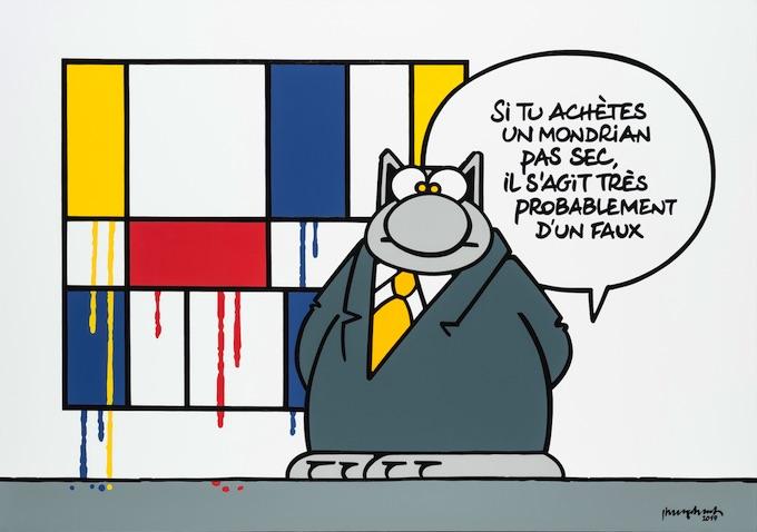 Philippe Geluck, Le Chat s'expose Avenue Matignon à la galerie Huberty & Breyne Paris, le 9/04/20