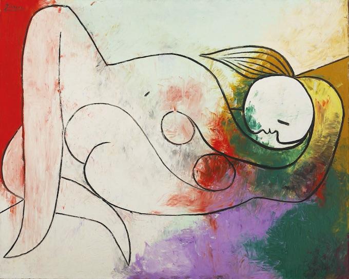Pablo Picasso Femme couchée à la mèche blonde, 21 décembre 1932 Huile sur toile, 130 × 162 cm Collection Ezra et David Nahmad © Succession Picasso, 2020