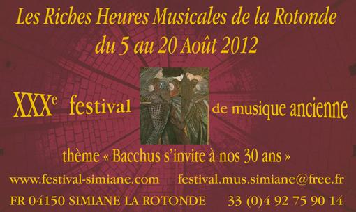 XXXe Festival de musique ancienne à Simiane la Rotonde, du 5 au 20 août 2012