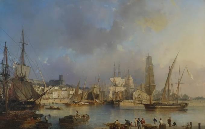 Julius Hintz (Hambourg, 1805 – Paris, 1862) Port de Sète, 1849 Huile sur toile, 75 x 112 cm