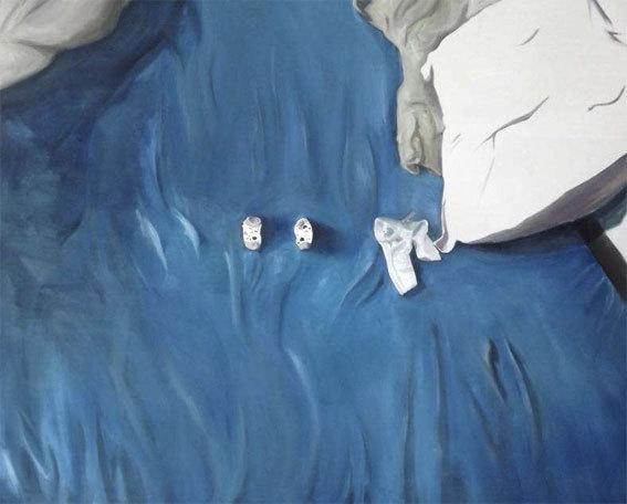 Valentin Goethals, Le Lit bleu, 2012, acrylique et huile sur toile, 130x162cm
