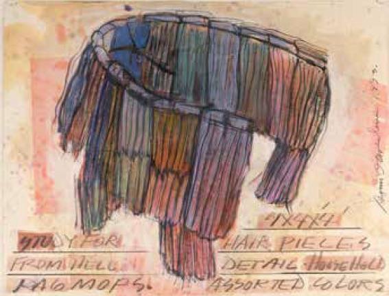 Dennis Oppenheim, Study For Hair Pieces From Hell, 1993, crayon à papier, crayons de couleur, glacis, pastel à l'huile sur papier. Galerie Mitterrand