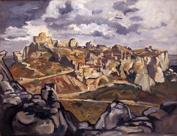Yves Brayer. Les Baux de Provence vus du Val d'Enfer, 1946, Huile sur toile 89x116cm