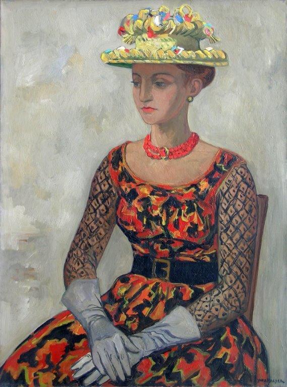 Yves Brayer. Hermione au chapeau de paille de Ségovie, 1963, Huile sur toile 100x73cm