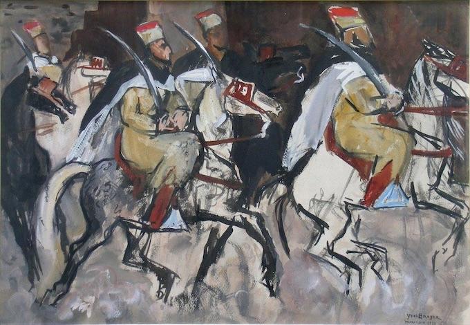 Yves Brayer. Spahis à Marrakech, Maroc 1928, Gouache 47x67cm