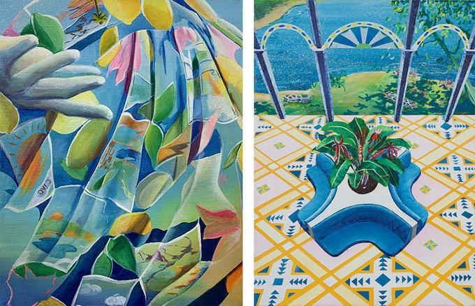 Soleil vert, 2020, Acrylique sur toile, 41 x 33 cm et Terra Nova, 2018 Acrylique sur toile, 33 x 24 cm © Adagp, Paris, 2020