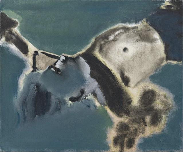 Marlène Dumas, Homme mort, 1988. Peinture à l'huile sur lin, 50 x 60 cm.  Photographie: Peter Cox, Eindhoven. © Rabo Art Collection