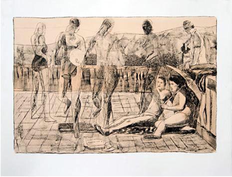 Marc Desgranchamps, La Terrasse IV 2010 lithographie 50 x 65 cm