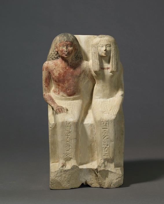 Statue du confiseur d'Amon Samout et de sa femme, la dame Moutnefert Vers le règne de Thoutmosis II © 2008 Musée du Louvre / Christian Décamps