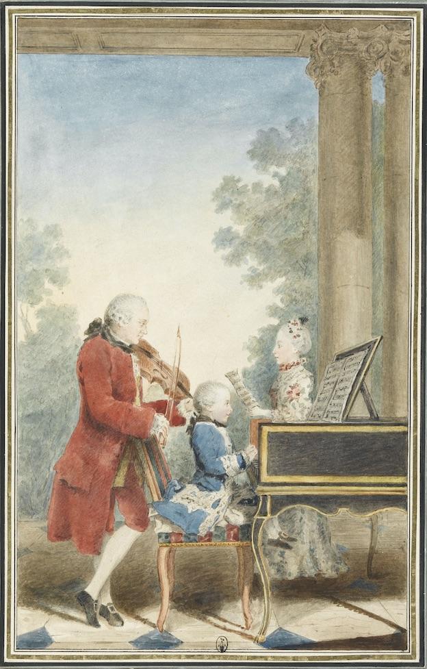 Louis Carrogis, dit Carmontelle. Wolfgang-Amadeus Mozart (17561791) enfant jouant avec son père et sa sœur Maria -Anna (dite Nannerl) à Paris en 1764. Chantilly, musée Condé ©RMN-Grand Palais domaine de Chantilly-René Gabriel Ojéda