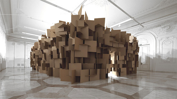 200 prepared dc-motors, 2000 cardboard elements 70x70cm Zimoun in collaboration with Architect Hannes Zweifel 2011