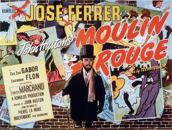 Affiche pour le film Moulin Rouge de John Huston, 1952.  © DR / Collection Cinémathèque française, Paris.