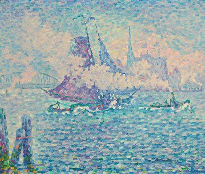 Paul Signac, Remorqueur dans le port de Rotterdam, 1906. Huile sur toile, 46 x 55 cm. Coll. Dr Vouillon ˝ Photo Chaintreuil ˝ Adagp, Paris 2012