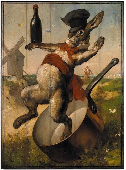 Enseigne du cabaret Au Lapin Agile, dernier survivant des cabarets artistiques du 19ème siècle, André Gill Collection particulière © François Doury