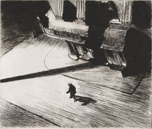 Edward Hopper. Night Shadows, 1921. Gravure, 17,5 x 21 cm. Philadelphia Museum of Art : Purchased with the Thomas Skelton Harrison Fund, 1962 © Philadelphia museum of art