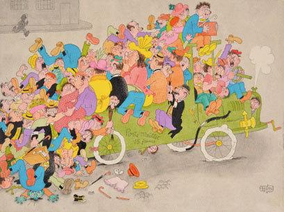 Albert Dubout, Vous montez à la prochaine, 1947. Aquarelle sur papier, encre de chine sur papier, 24 x 32 cm Collection particulière © Jean Bernard
