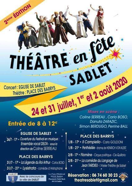 Théâtre en fête à Sablet (84) du 31 juillet au 5 août 2020