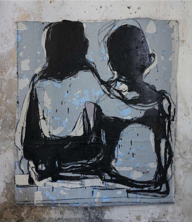 Blais Jean-Charles, 2020. Fusain, craie et huile sur affiches arrachées, 113 x 98 cm
