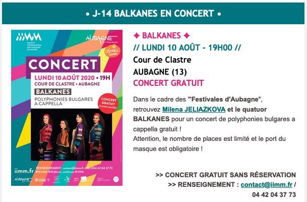 Balkanes en concert à Aubagne le 10 août 2020