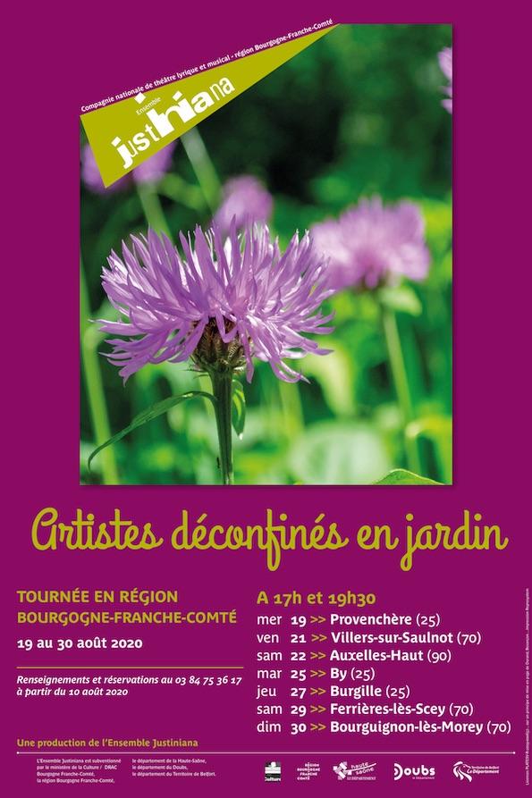 Artistes déconfinés en jardin, 15 représentations dans les villages de la Région Franche-Comté du 15 au 31 août 2020