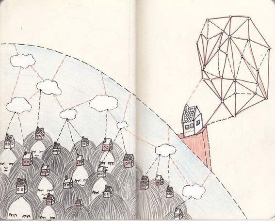 Camille Devallois, Recherches, techniques mixtes, cahier, 2012.