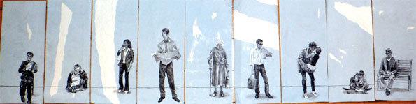 Charlotte Delmon, Série: «Les fantômes du métro», 16 x 36 cm Acrylique sur dos d'affiche de métro, 2012