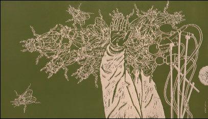 Sans titre. Bois gravé, 125 x 72 cm © DR