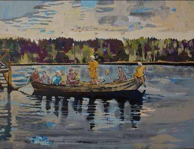 Anna-Lisa Unkuri, La barque, 2012, technique mixte sur toile, 100 x 130 cm