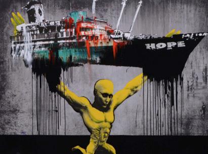 Marc Felten, Hope. Technique mixte, 200 x 150 cm. Courtesy Galerie Nicole Buck