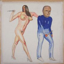 """Pat Andrea, """"Duo, peintre et modèle"""", technique mixte sur papier marouflé sur bois, 19,5 x 19,5 cm, 2010"""