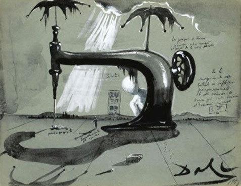 Machine à coudre aux parapluies, 1951, gouache et encre sur papier,25 x 32 cm