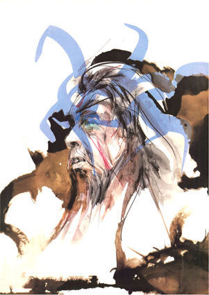 « Jacques Brel, L'homme de la Mancha » Lithographie couleurs in « œuvre poétique » de Jacques Brel édité par Israël, 1986