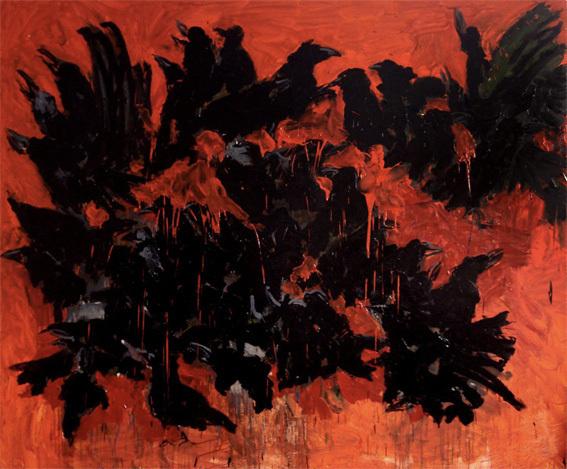 Sans ttitre (Corbeaux n°5) - Huile sur toile - 230x190cm - 2008