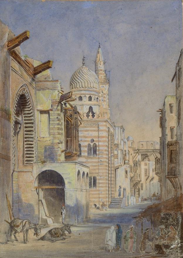 Joseph Philibert Girault de Prangey. Mosquée près Bâb-El-Ouîzir au Caire. Vers 1844 ?. Aquarelle sur papier. Langres, MAH.
