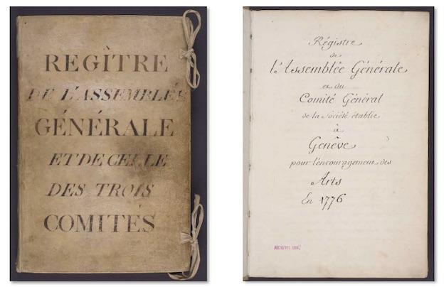 Registres de l'assemblée générale et de la Société des Arts, 1776