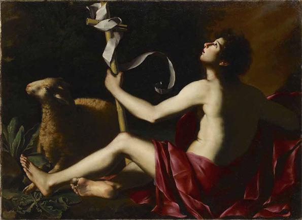 Maître de Baranello, Saint Jean Baptiste. Vers 1620-1630 - Huile sur toile - 100 x 136,5 cm.