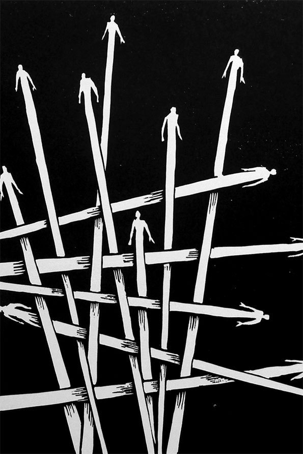 "Tom Joseph,  "" La trame"" - Linogravure format papier 26 x 33 cm - format matrice 18x24 cm, 2012"