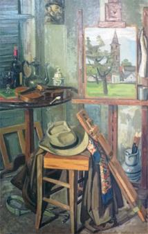 Dans l'atelier 1957 huile sur toile 143 x 92 cm © coll. musées de Menton, DE658