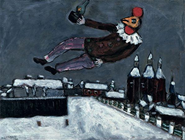 Homme-coq au-dessus de Vitebsk Marc Chagall, 1925 collection privée huile sur carton, 49 x 64,5 cm © ADAGP, Paris 2013 / CHAGALL ® © collection privée