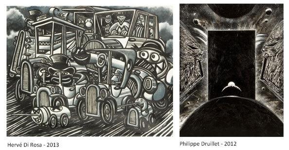 Cosmos,  Hervé Di Rosa & Philippe Druillet du 8 au 31 mars 2013 à la galerie Petits Papiers, Bruxelles