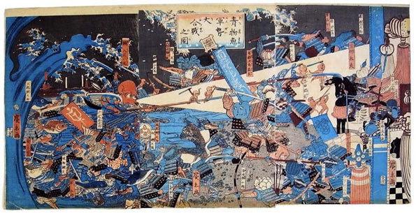 """Kuniyoshi (1797 – 1861), Triptyque """"La bataille des légumes"""" par Hirokage (1859)"""