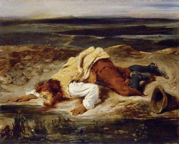 Eugène Delacroix, Brigand blessé, vers 1825, huile sur toile, 32,7 x 10,8 cm © Kunstmuseum Basel, © Martin P Bühler