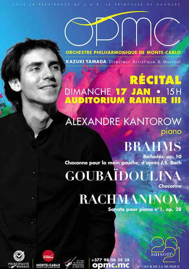 Monte-Carlo : Récital Alexandre Kantorow, piano, dimanche 17 janvier à 15h  à l'Auditorium Rainier III