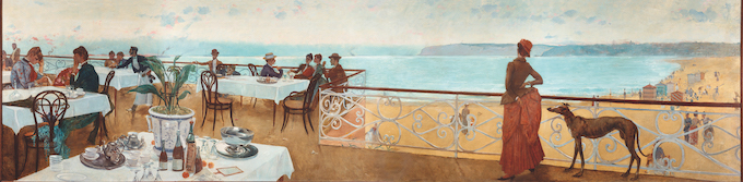 Adolfo Guiard . Sur la terrasse (En la terraza), 1886 (détail). Huile sur toile 110 x 470 cm. Collection Sociedad Bilbaína