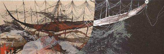 Enrique Mestre-Jaime : Pirogue - 2010, technique mixte sur toile, 40 x 120 cm