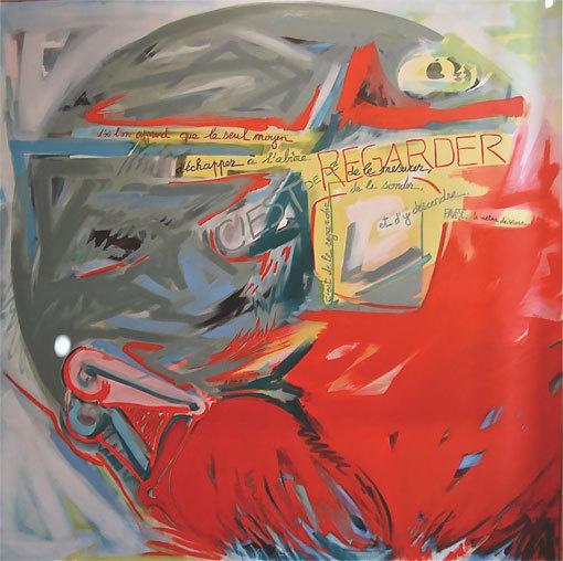 """Madeleine Lambert. """"L'inéluctable"""",  huile sur toile,  200 x 200 cm, 1988, Prêt de la ville de Vénissieux."""