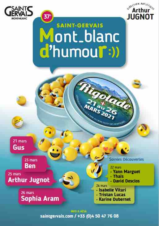 37e Saint-Gervais mont-Blanc d'humour du 21 au 26 mars 2021, demandez le programme !